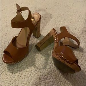 70's Style With Cork Heels Size 7.5